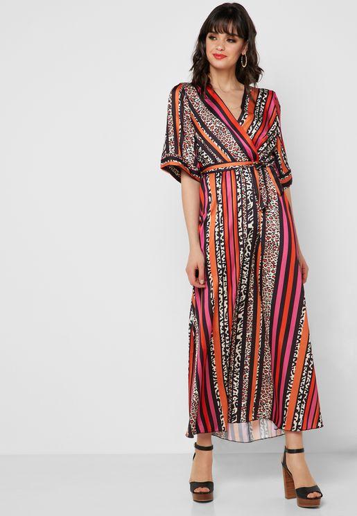 Mixed Print Wrap Front Maxi Dress