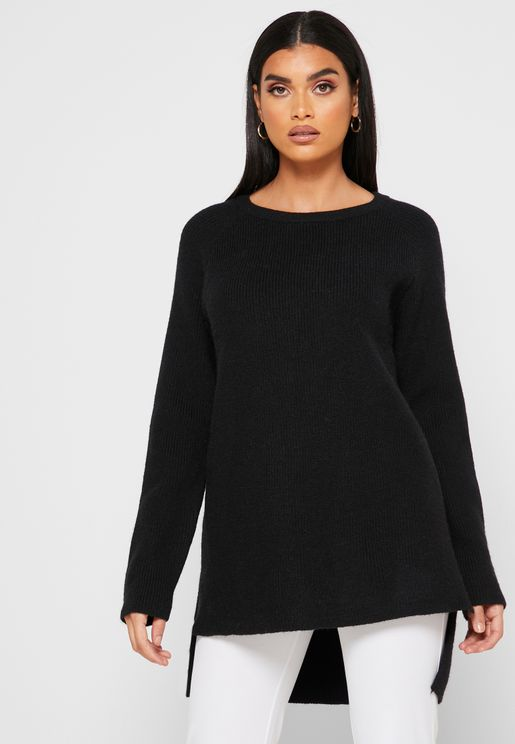 Textured Long Back Sweater