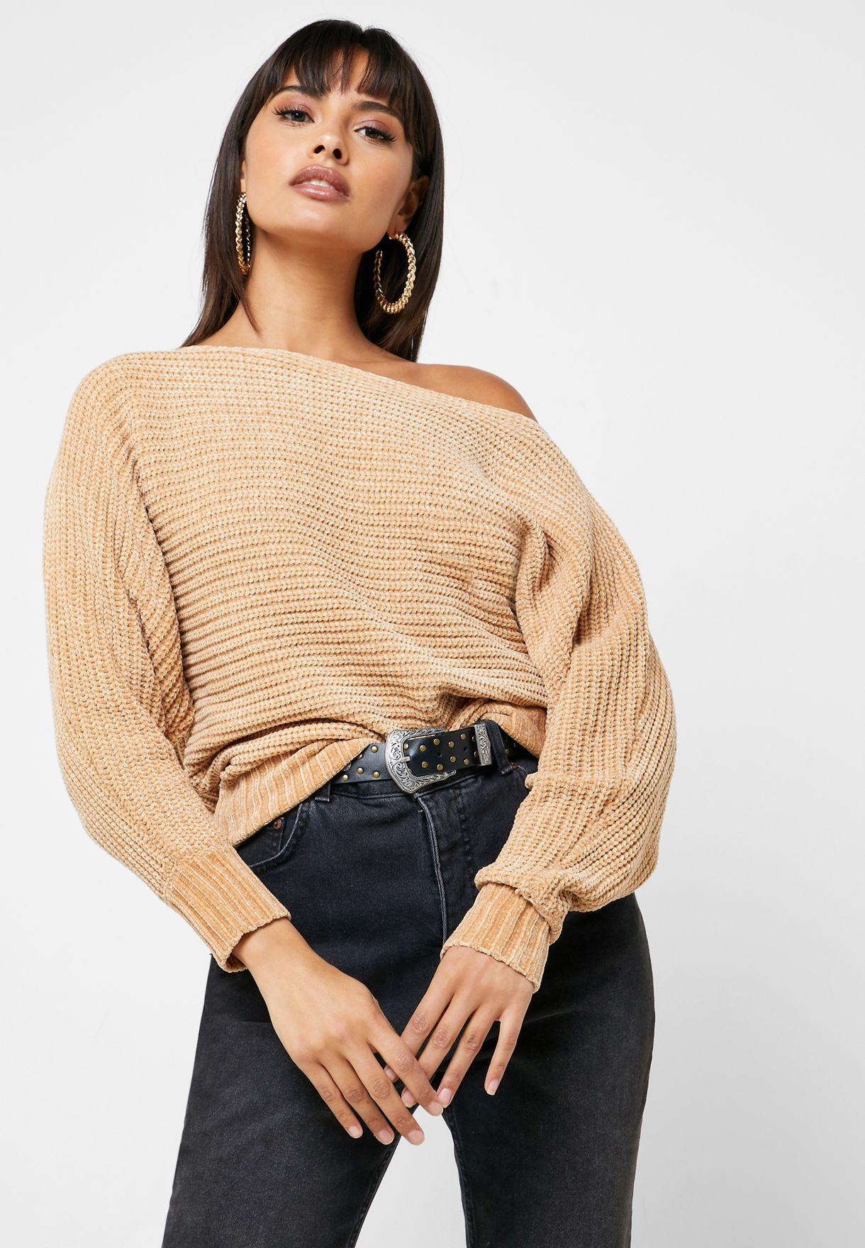 Cable Knit Drape Shoulder Sweater