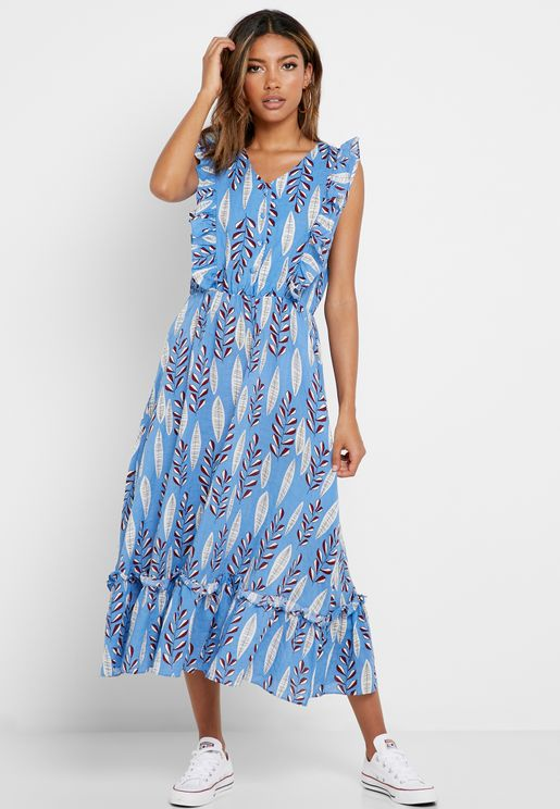 Printed Ruffle Sleeve Self Tie Midi Dress