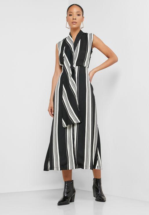 Button Through Striped Dress