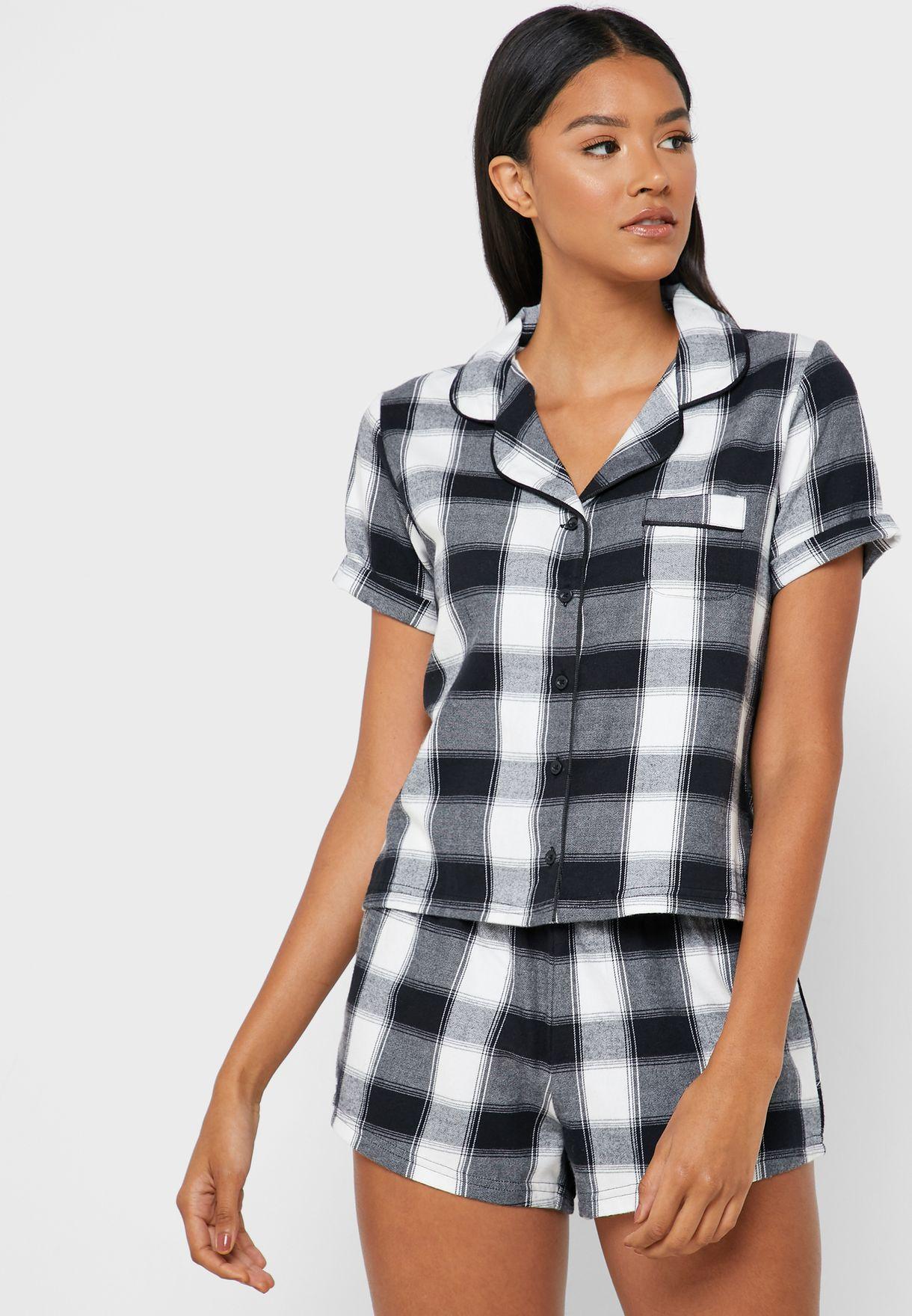 Checked Shirt & Short Set