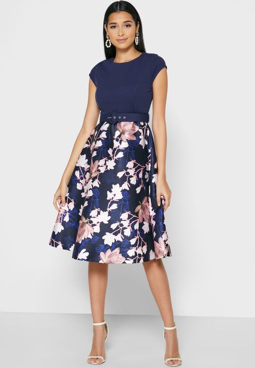 Printed Belted Dress