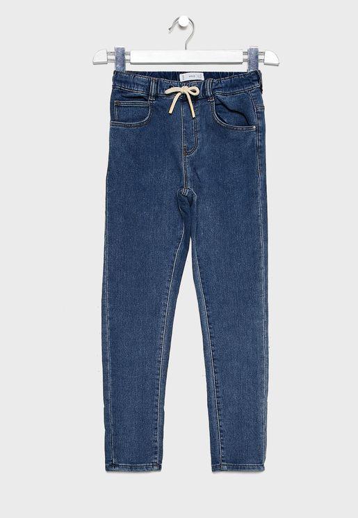 بنطال جينز جوغ بأربطة خصر