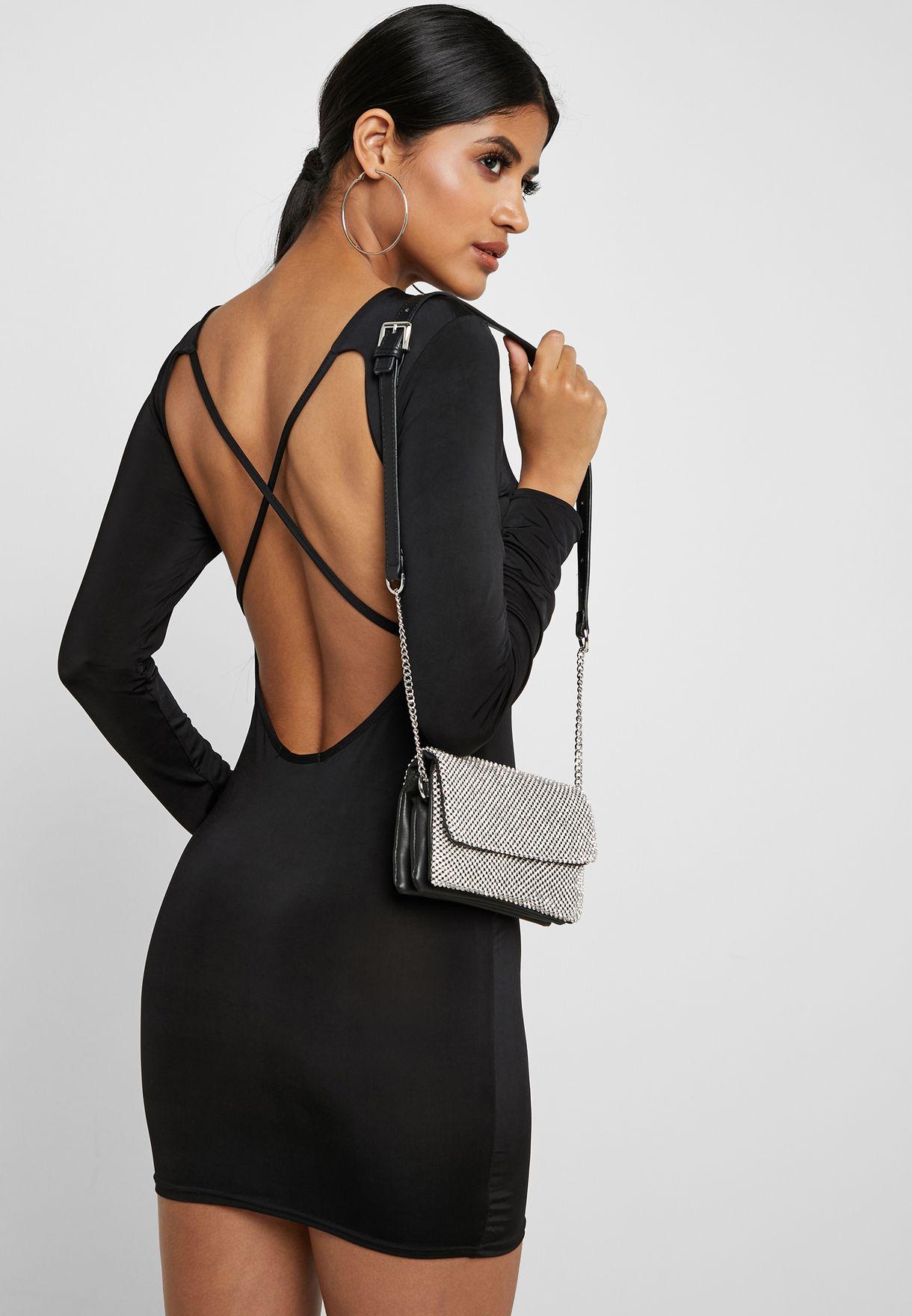 5894a7c940 Shop Missguided black Cross Back Detail Dress WXDE926438 for Women ...