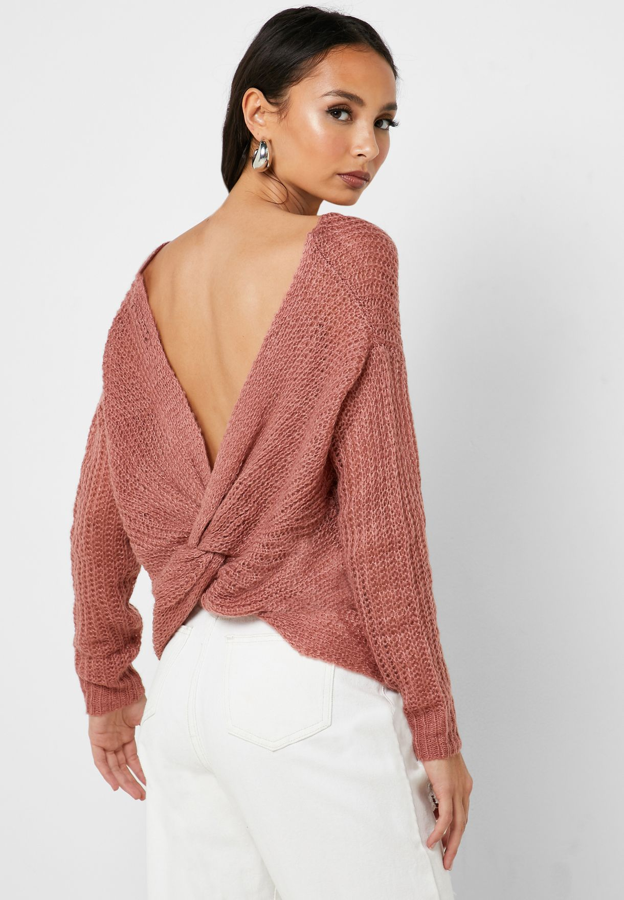 Open Back Twisted Sweater