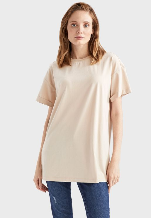 Roll Sleeve Oversized T-Shirt
