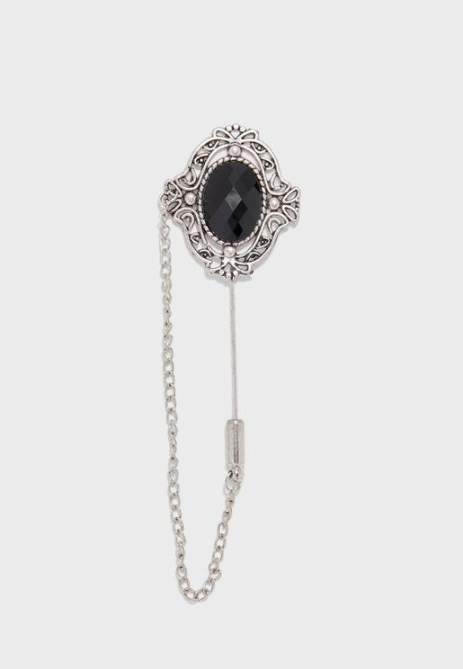Black Stone Pin Brooch