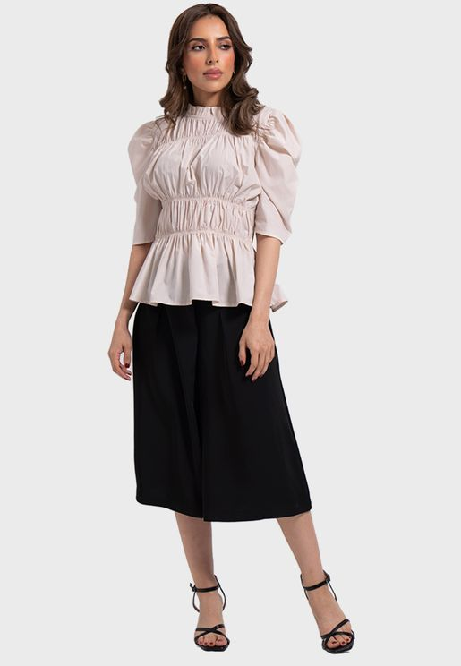 Puff Sleeve Ruched Peplum Top