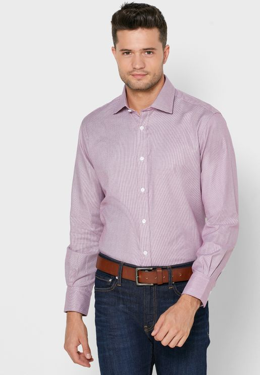 Dogtooth Button Cuff Slim Fit Shirt