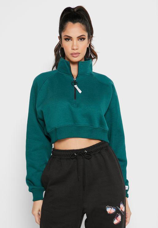Half Zip Through Sweatshirt