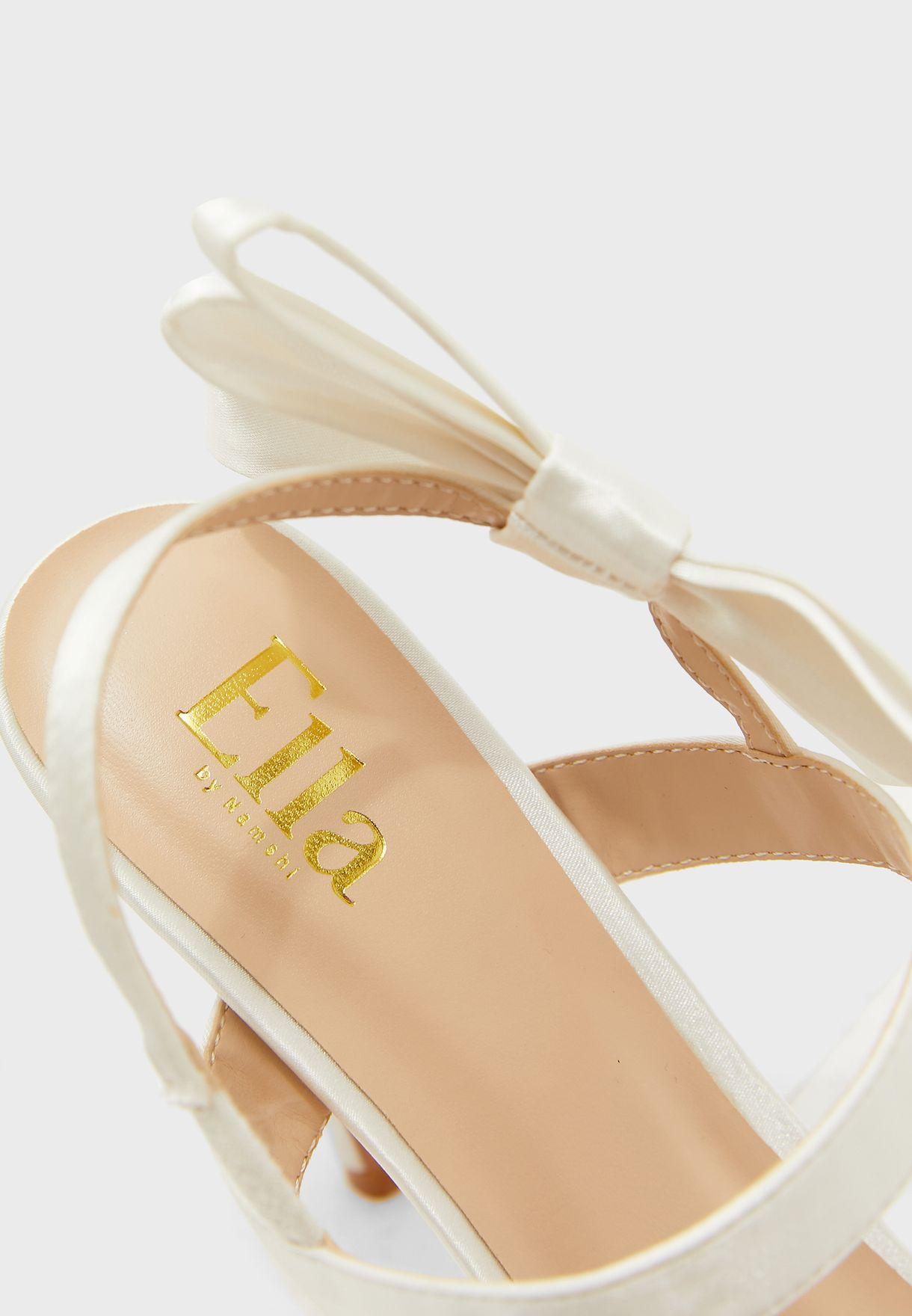 Oversized Bow Detail Ankle Strap Stiletto Sandal