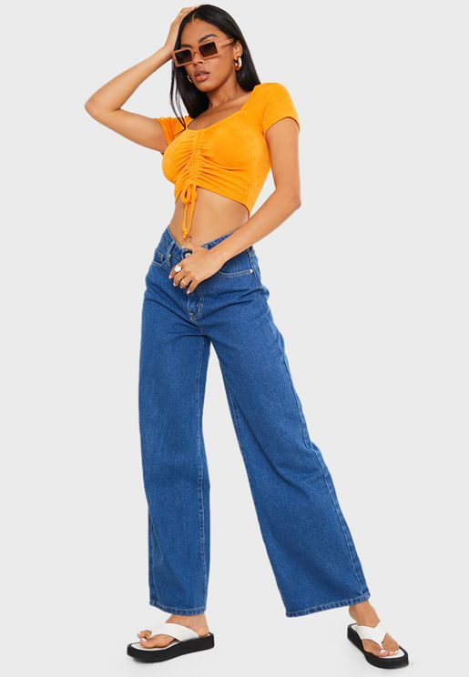 بنطال جينز بارجل عريضة