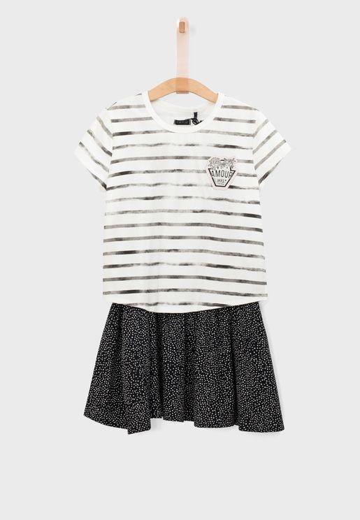 Youth Pleated Dress + T-Shirt Set