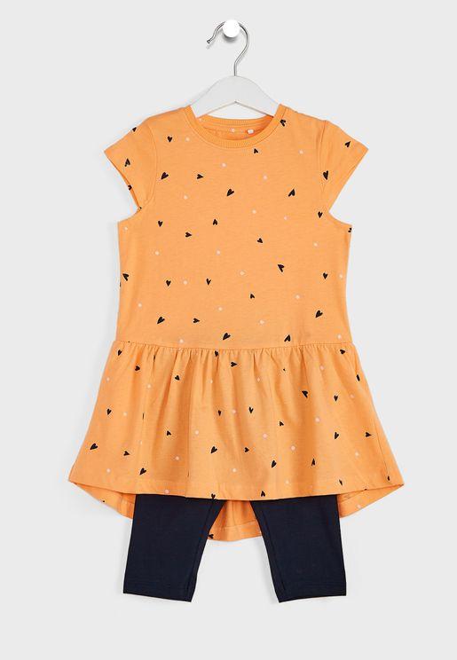 Kids Printed Dress + Pants Set