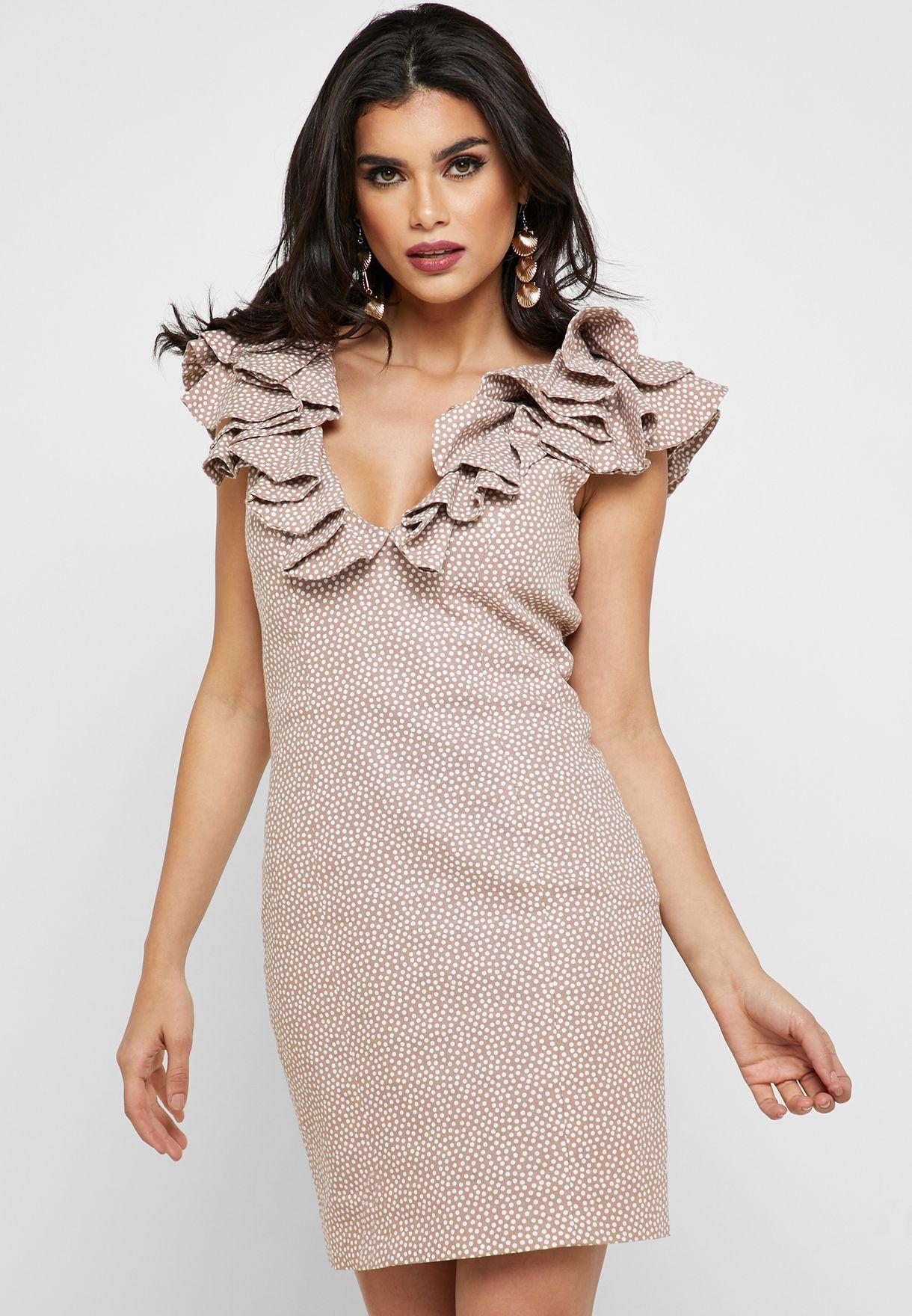 Ruffle Detail Bodycon Mini Dress