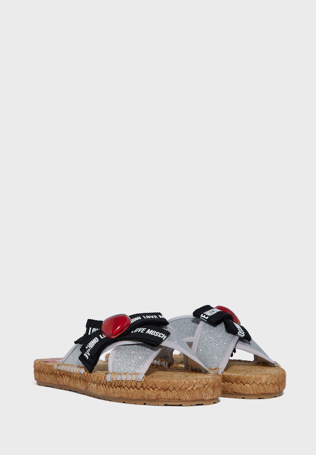 Cross Strap Flat Sandal - Argento