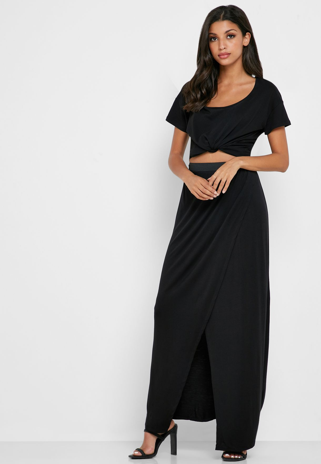 Pleated Detail Wrap Skirt