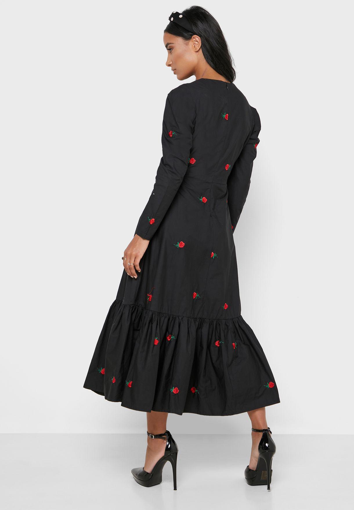 Embroidery Detail Ruffle Hem Dress
