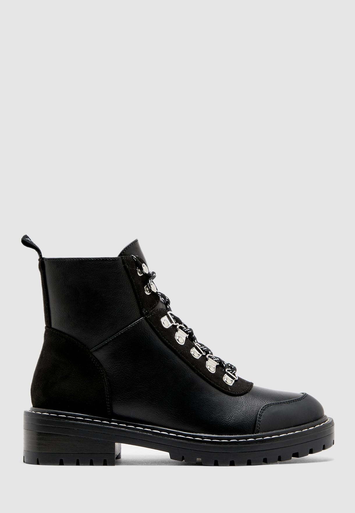 Bold Lace Up Pu Winter Boot
