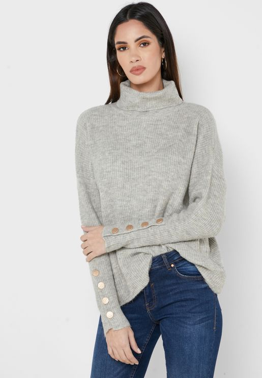 Button Sleeve Detail Sweater