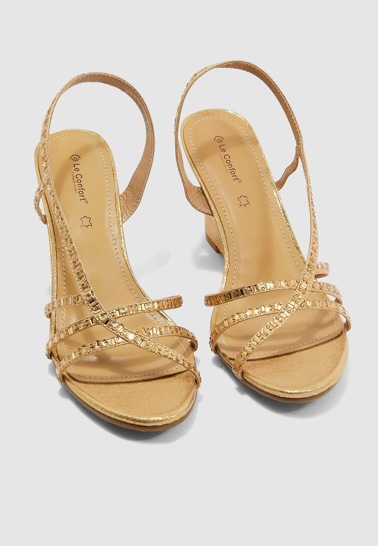 Multi Strap Wedge Sandal - Gold