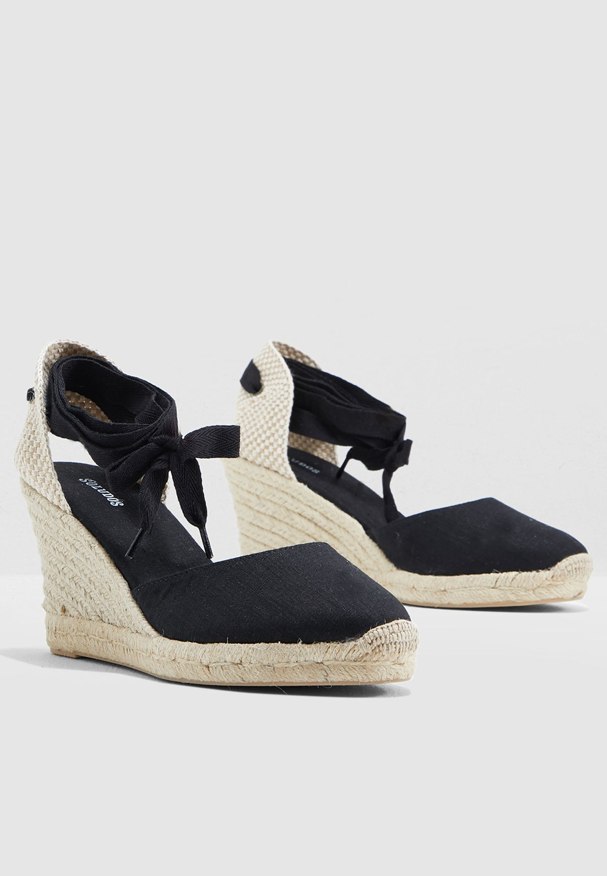 5e0664566f93 Shop Soludos black Tall Wedge Pump FWT1101 for Women in Qatar ...