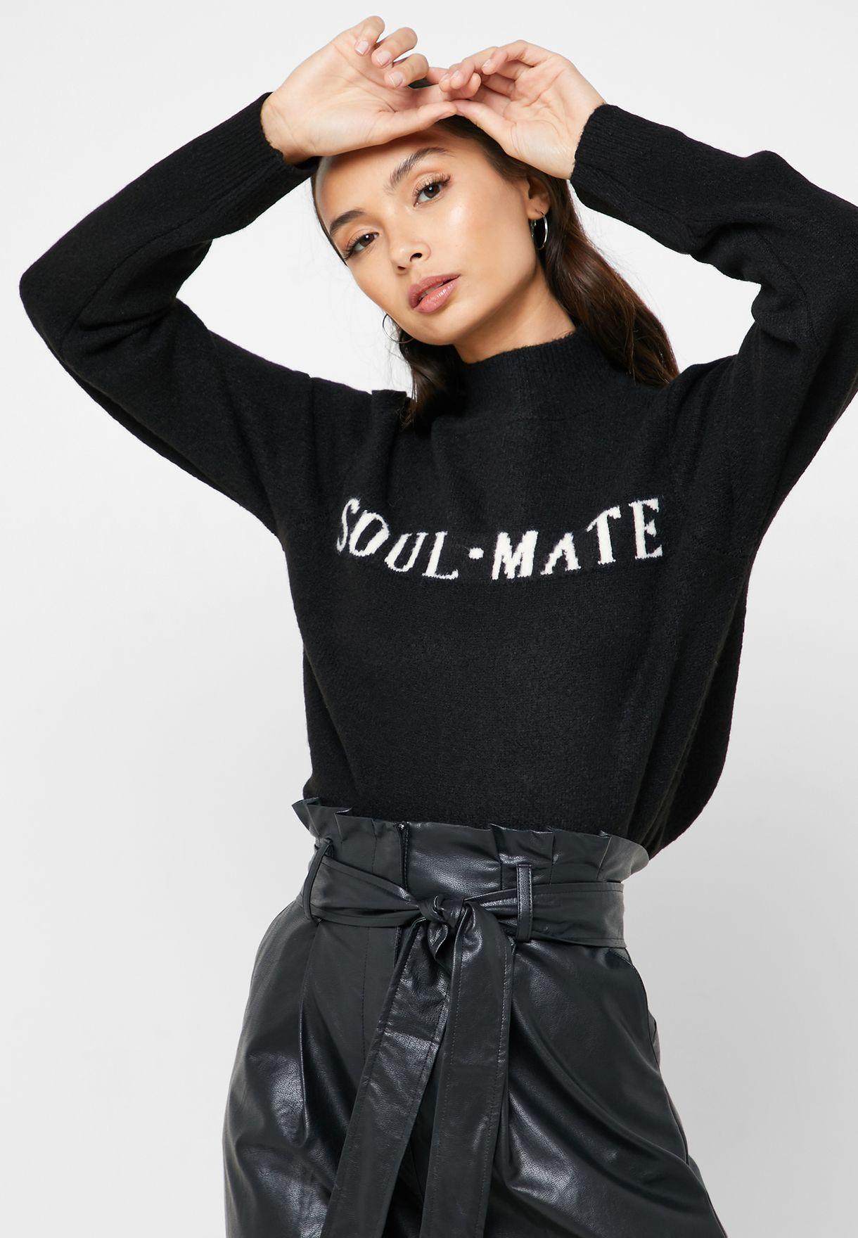 High Neck Slogan Sweater