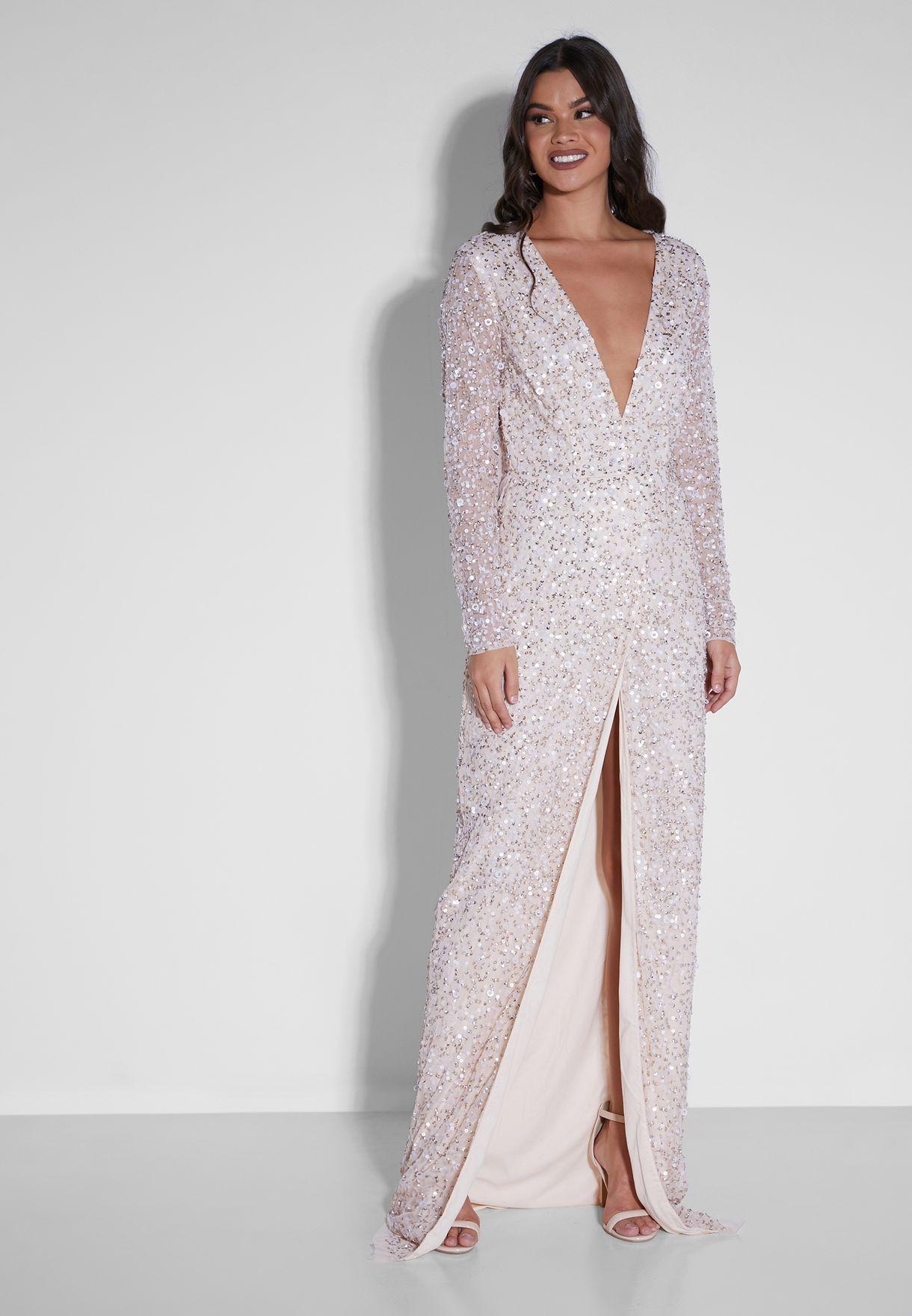 Claranette Sequin Wrap Dress