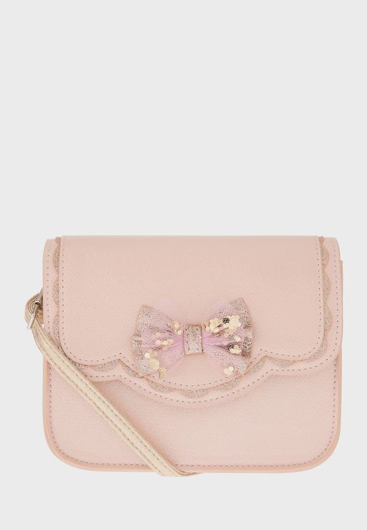 Kids Scallop Edged Bow Cross Body Bag