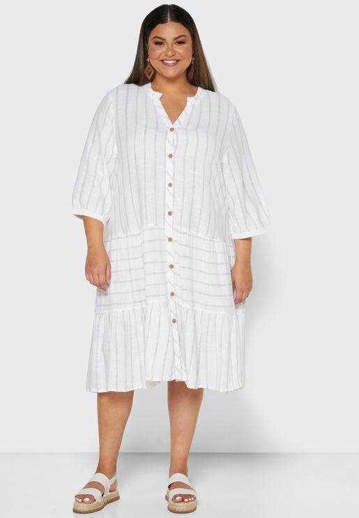 فستان بياقة V وازرار امامية