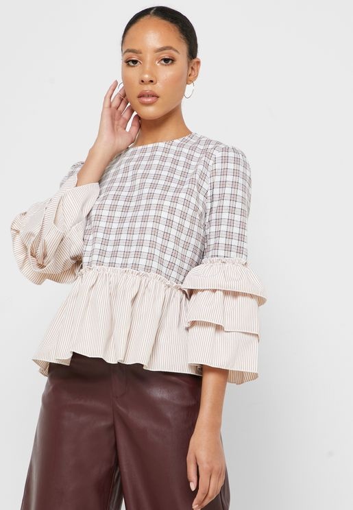 Ruffle Sleeve Tiered Hem Checked Top