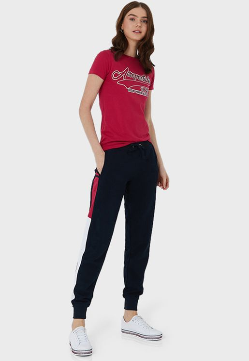 Contrast Detail Drawstring Pants