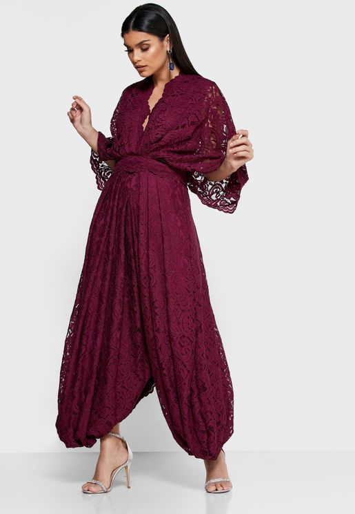 Kimono Sleeve Lace Dress