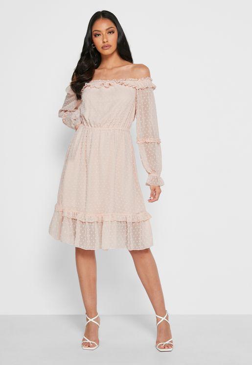 Bardot Frill Trim Dress