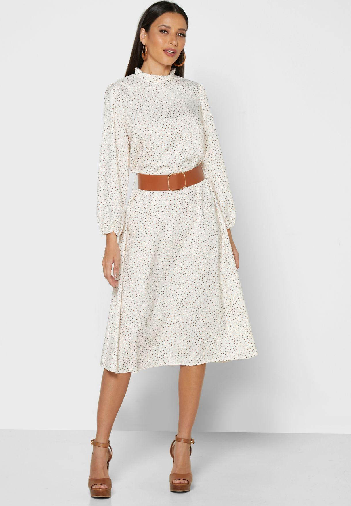 Printed Belted Midi Dress