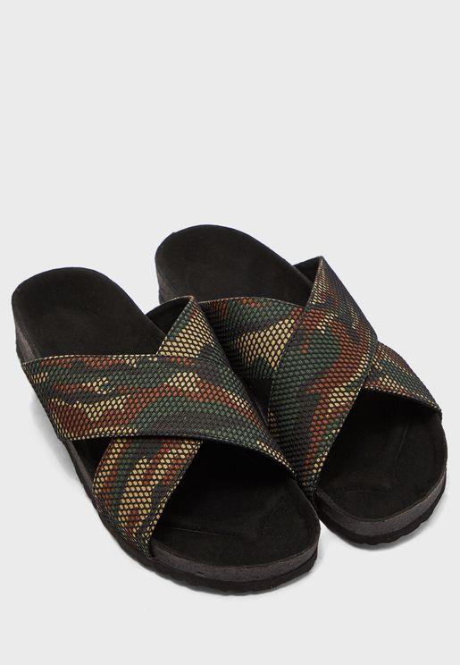 Cross Strap Camo Print Sandals