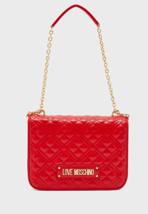 Chain Link Flap Over Quilted Crossbody