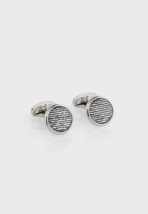Round Stripe Cufflinks In Giftbox