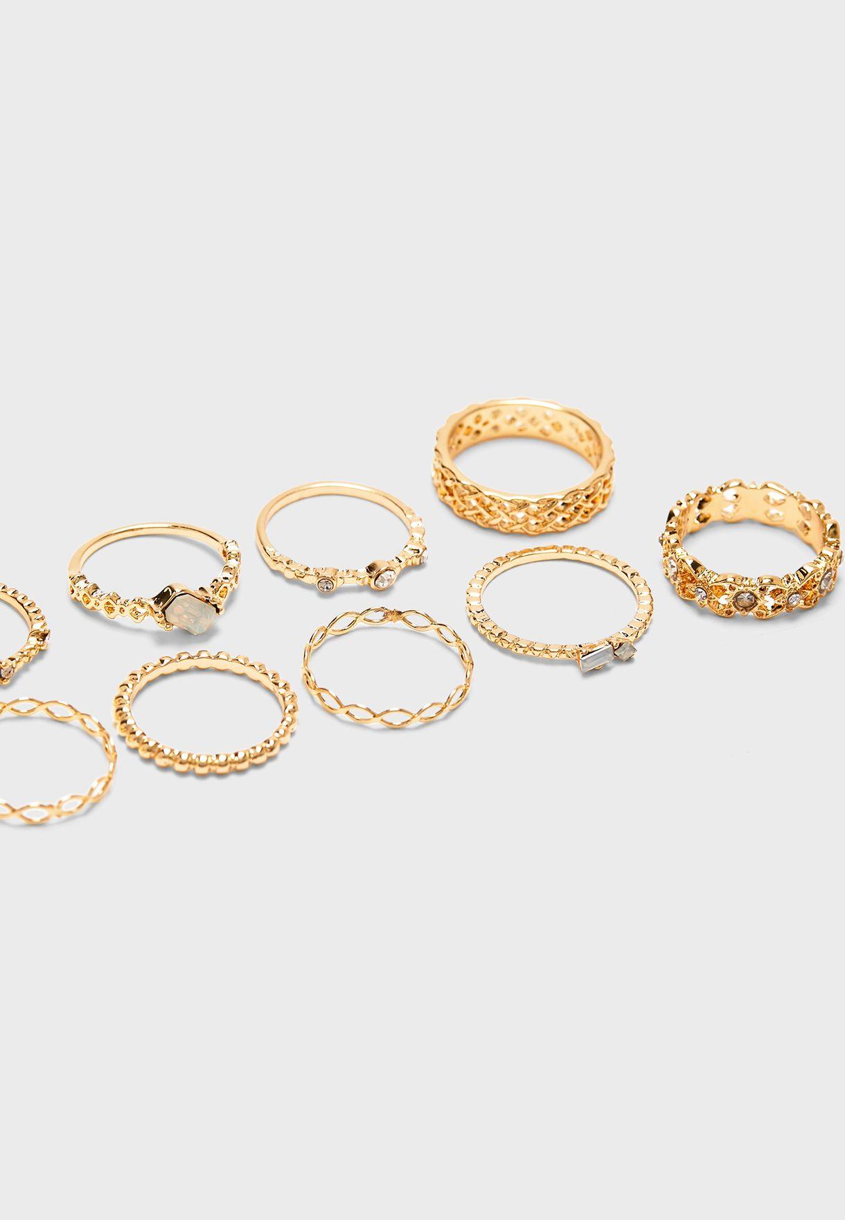 Multipack Rhinestone Rings
