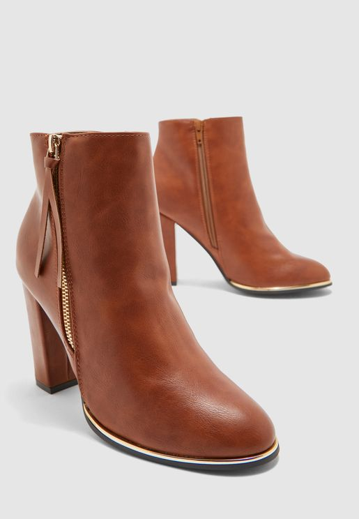 Ankle Boots With Zip Detail