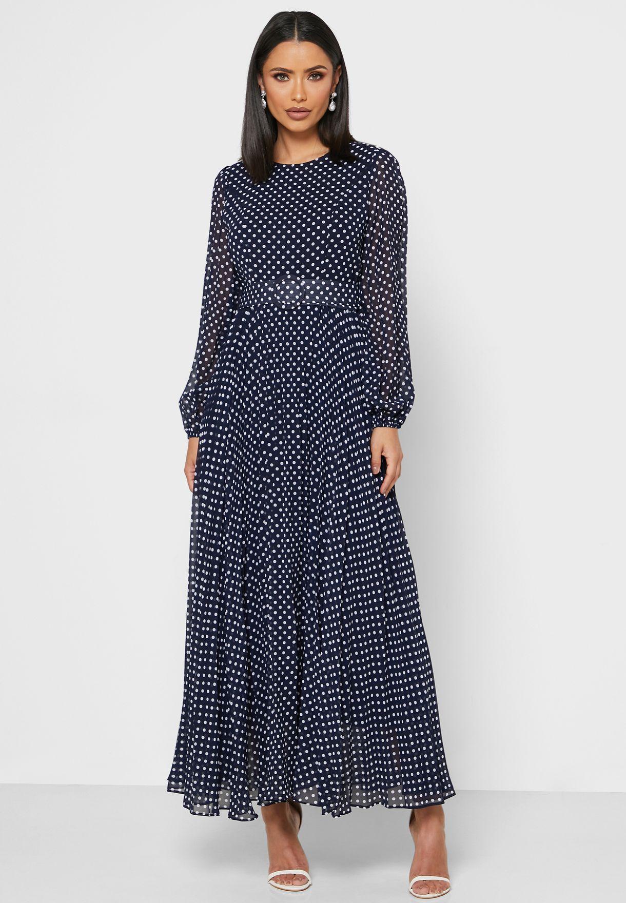 Polka Dot Belted Midi Dress