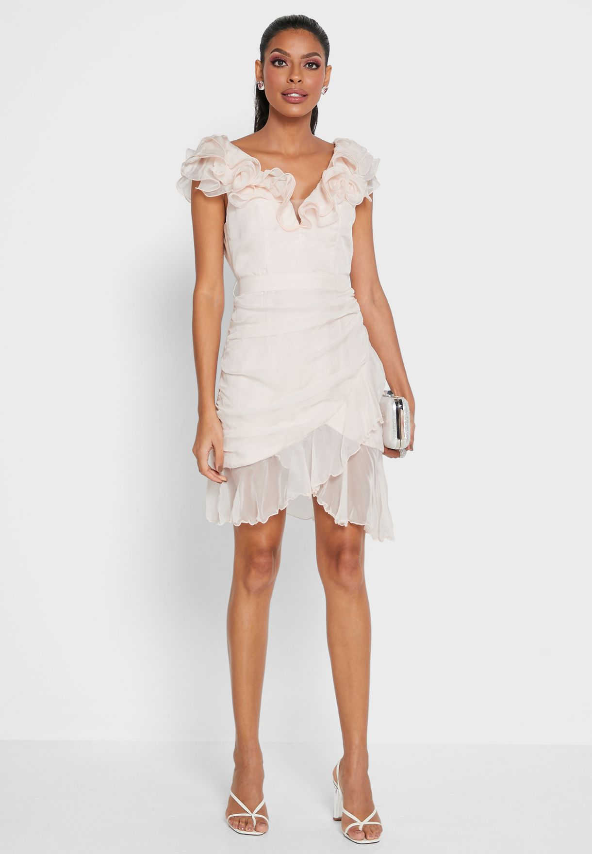 Ruffle Detail Wrap Dress