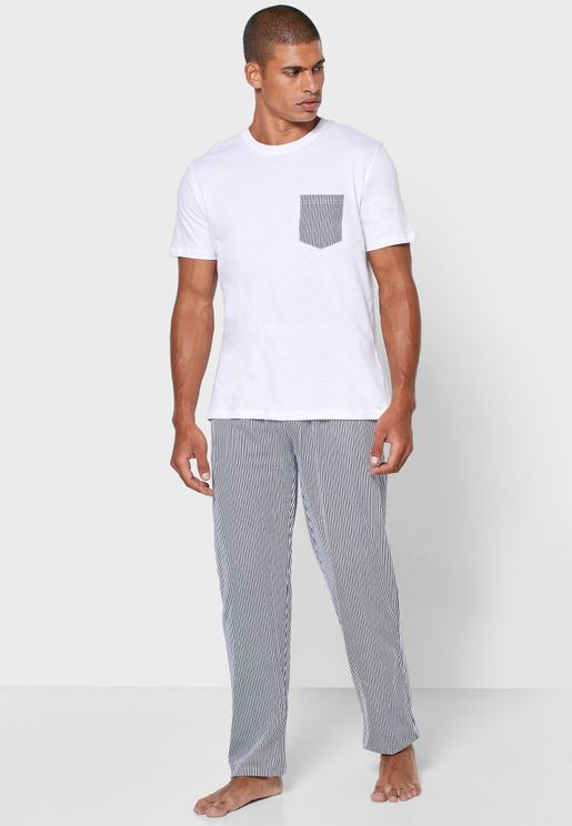 Pocket Detail Crew Neck T Shirt + Pants Set
