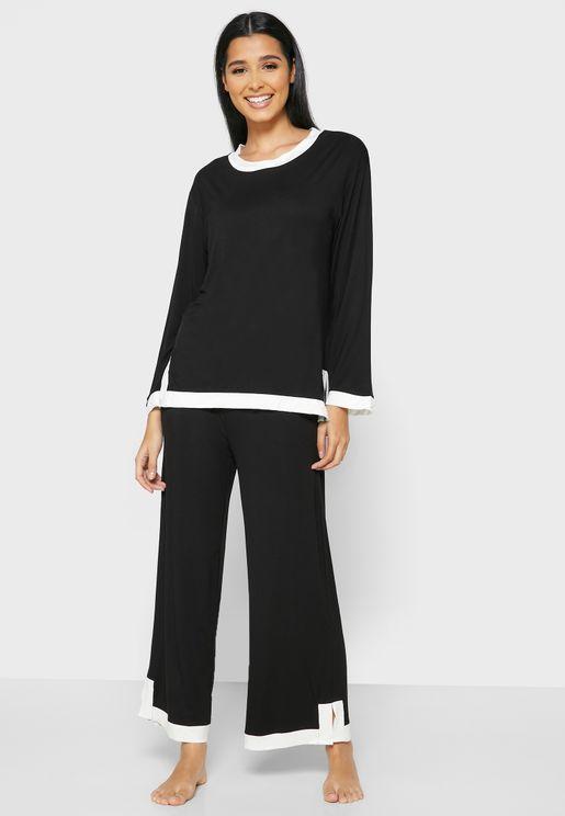 Contrast Trim Pyjama Set