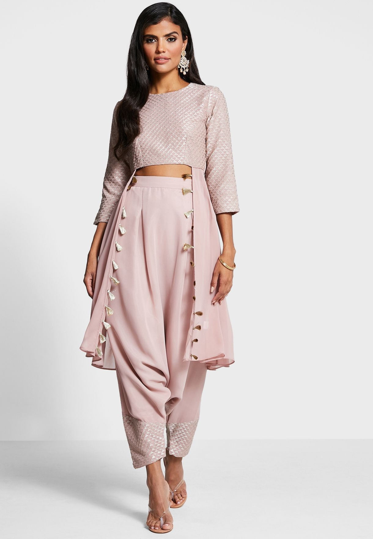 Indya X Payal Singhal Blush Embroidered Cropped High Low Tunic