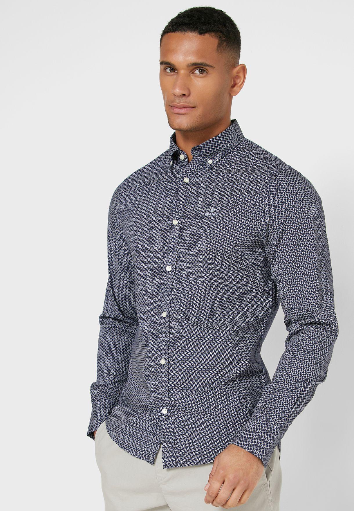 Dot Weave Print Regular Fit Shirt