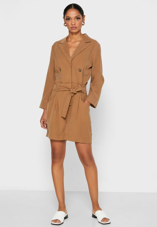 3/4 Sleeve Belted Playsuit