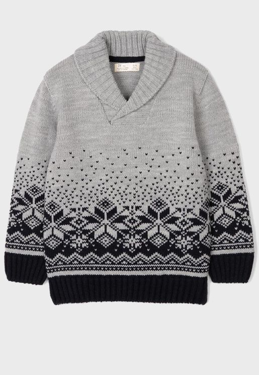 Kids Shawl Neck Sweater