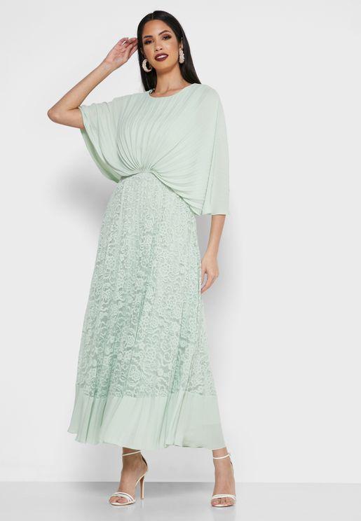 Pleated Overlay Dress
